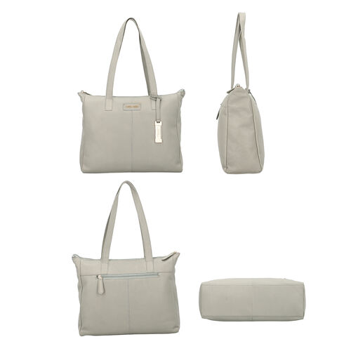UNION CODE - 2 Piece Set 100% Genuine Leather Tote Bag (Size 33x12.5x27.5 Cm) with RFID Protected Wristlet Clutch (Size 20.5x12 Cm) - Mint Green