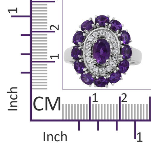 Lusaka Amethyst (Ovl), Natural White Cambodian Zircon Ring in Rhodium Plated Sterling Silver 2.280 Ct. Silver wt 6.74 Gms.