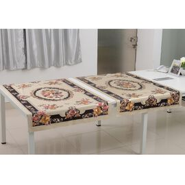Set of 2 -  Multi Colour Embossed Print Water Proof - Table Cloth (Size 150x90 Cm)