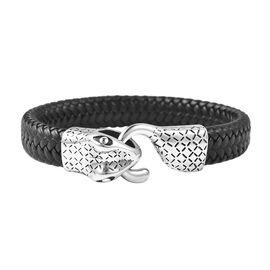 Genuine Leather Black Oxidised Serpent Bracelet (Size 7.5)