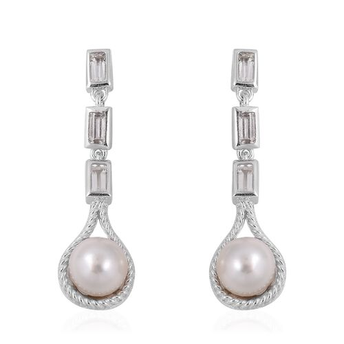 Japanese Akoya Pearl (Rnd), White Topaz Drop Earrings (with Push Back) in Rhodium Overlay Sterling S