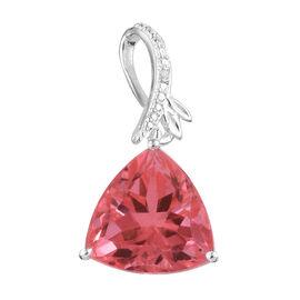 Padparadscha Quartz (Trl ), Diamond Pendant in Sterling Silver 6.005  Ct.