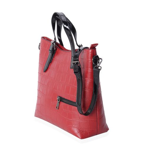 Chic Red 100% Genuine Leather Croc Embossed Tote Bag with High Glossed Shoulder Strap (Size 28x27x10 Cm)