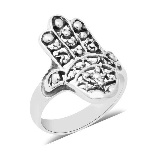 Hamsa Hand Ring in Sterling Silver 4.21 Grams
