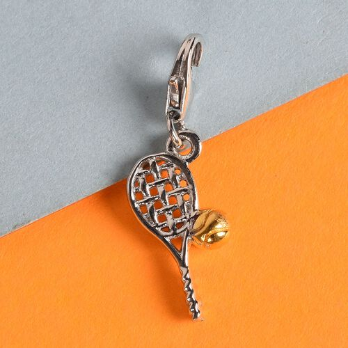 Yellow Gold and Platinum Overlay Sterling Silver Tennis Racket and Ball Charm