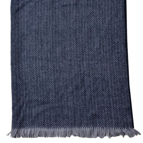 Designer Inspired-Dark Blue Colour Scarf with Fringes (Size 200X80 Cm)