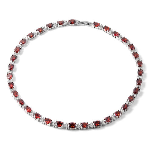 MP Simulated Red Garnet and Simulated Diamond Tennis Necklace (Size 16) in Silver Tone