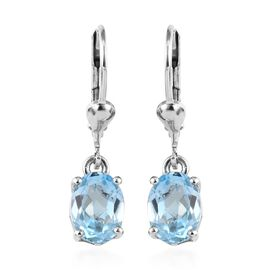 Sky Blue Topaz (Ovl) Lever Back Earrings Platinum Overlay Sterling Silver 2.75 Ct.
