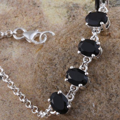 Boi Ploi Black Spinel (Ovl) Bracelet (Size 7.5) in Sterling Silver. Silver wt. 3.60 Gms.