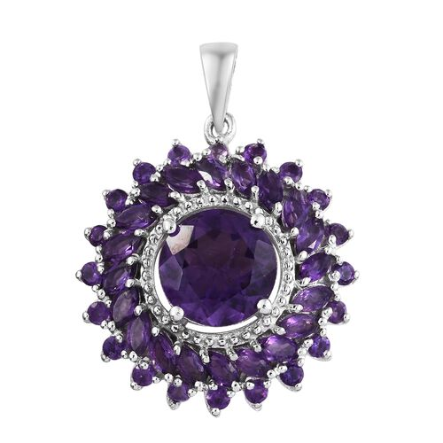 Amethyst (Rnd 3.30 Ct) Flower Pendant in Platinum Overlay Sterling Silver 5.250 Ct. Silver wt 5.17 Gms.