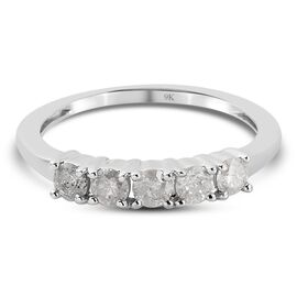 9K White Gold White Diamond Ring in Rhodium Overlay 0.50 ct, Gold Wt. 1.92 Gms 0.500 Ct.