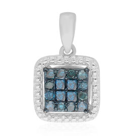 Blue Diamond Pendant in Platinum Overlay Sterling Silver 0.33 Ct.