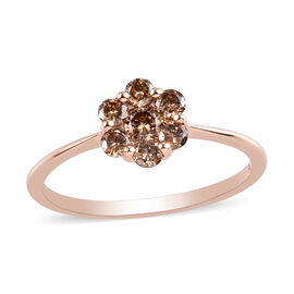 Limited Edition- 9K Rose Gold SGL Certified Natural Champagne Diamond (I2-I3) Floral Ring 0.50 Ct.