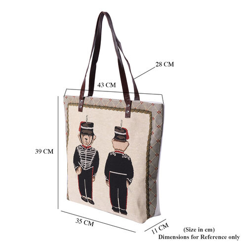 Bear Pattern Large Tote Bag (Size 35x11x39 Cm) - Beige, White and Black