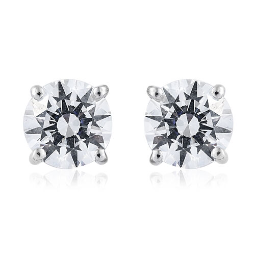 J Francis Platinum Overlay Sterling Silver (Rnd 7.5 mm) Stud Earrings (with Push Back) Made with SWA