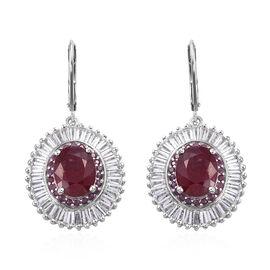 11.5 Ct African Ruby and Multi Gemstones Halo Drop Earrings in Sterling Silver 7.41 Grams