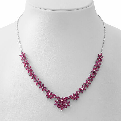 Limited Edition- African Ruby (Mrq) Necklace (Size 18) in Rhodium Overlay Sterling Silver 14.850 Ct., Silver wt 19.50 Gms