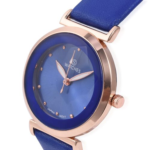 STRADA Japanese Movement Water Resistant Watch with Blue Colour Strap