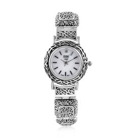 Royal Bali Collection EON 1962 Diamond Studded and Swiss Movement Sterling Silver Watch (Size 6.5),