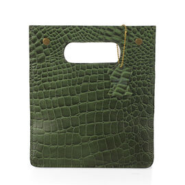 Super Chic 100% Genuine Leather Olive Green Colour Crocodile Embossed Structured Shopper Bag (Size 2