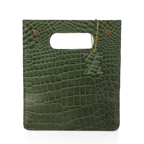 Super Chic 100% Genuine Leather Olive Green Colour Crocodile Embossed Structured Shopper Bag (Size 25x22x15 Cm)