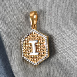 Yellow Gold and Platinum Overlay Sterling Silver Initial letter I Pendant