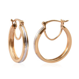 Designer Inspired Platinum and Yellow Gold Plated Sterling Silver Hoop Earrings with Clasp