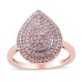9K Rose Gold Pink Diamond and White Diamond Ring 0.50 Ct.