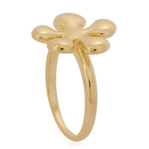 LucyQ Raised Splat Ring in Yellow Gold Overlay Sterling Silver 5.36 Gms.