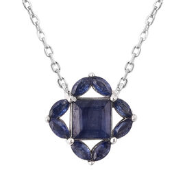 Isabella Liu Floral Collection - AA Masoala Sapphire Necklace (Size 18) in Rhodium Overlay Sterling
