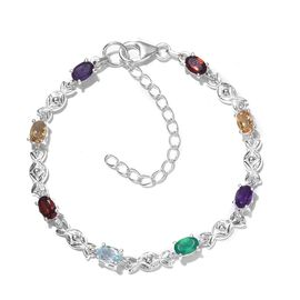 One Time Deal-Multi Gemstones Bracelet (Size 6.5 With 2 inch Extender) in Sterling Silver 3.577 Ct.