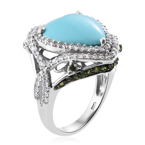 Rare Size Sleeping Beauty Turquoise (Hrt 7.20 Ct), Russian Diopside and Natural Cambodian Zircon Ring in Platinum Overlay Sterling Silver 9.000 Ct. Gemstone Studded 133 Silver wt 8.27 Gms.