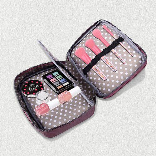 Portable Makeup Bag (Size 22x5x15x5cm) with Wrist Band Handle in Purple Colour