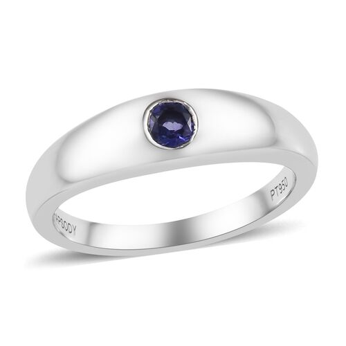 RHAPSODY 0.30 Ct AAAA Tanzanite Solitaire Band Ring in 950 Platinum 6.77 grams