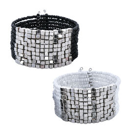 Set of 2 White and Black Beaded Cuff Bangles 7.5 Inch