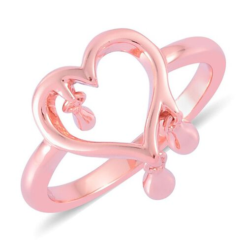 Lucy Q Open Melting Heart Ring with 3 Drip in Rose Gold Overlay Sterling Silver