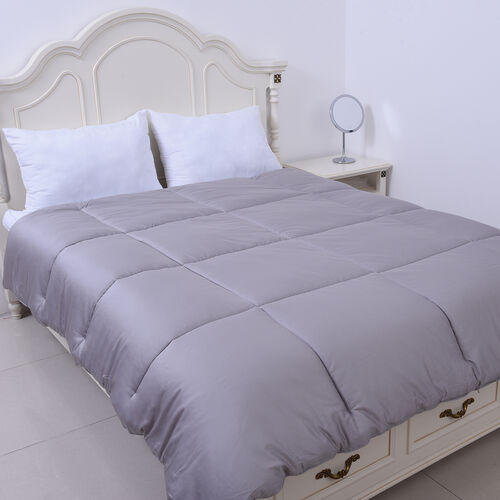 Serenity Night - Mulberry Silk Duvet with Square Quilting (Size Double 200x200cm)- Silver Grey