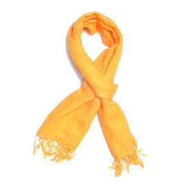 New Season Linen Handloom Woven Orange Colour Shawl (Size 180x70 Cm)