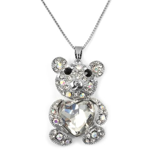 Multi Colour Austrian Crystal, Simulated Diamond Teddy Bear Pendant With Chain (Size 30 with 2 inch Extender) in Silver Plated.