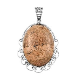 51.31 Ct Picture Jasper Solitaire Pendant in Sterling Silver