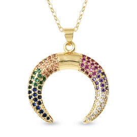 Simulated Multi Gemstone Crescent Moon Pendant with Chain (Size 20 with 2.5 inch Extender) in Yellow