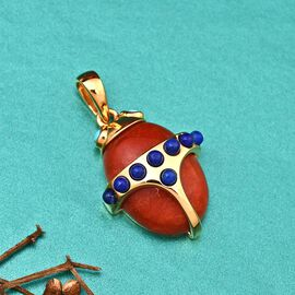 Sundays Child - Red Jade, Arizona Sleeping Beauty Turquoise and Lapis Lauli Pendant in 14K Gold Overlay Sterling Silver 13.86 Ct.