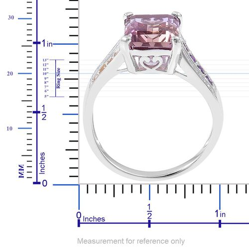 Anahi Ametrine (Oct 5.25 Ct), Citrine, Amethyst and White Zircon Ring in Platinum Overlay Sterling Silver 5.700 Ct.
