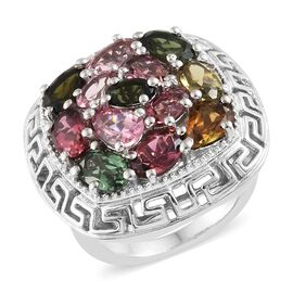 4.75 Ct AA Rainbow Tourmaline Cluster Ring in Platinum Plated Silver 9.50 Grams
