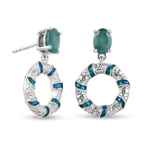Grandidierite Dangling Earrings (with Push Back) in Platinum Overlay Sterling Silver 1.50 Ct.