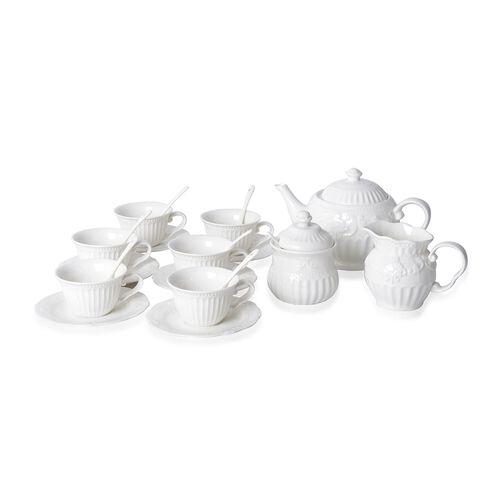 22 Piece Set Tea Set Consists of 6 Cups,6 Saucers,7 Spoons,1 Sugar Jar,1 Milk Jar,1 Tea Pot