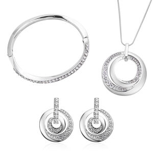 '3 Piece Set - White Austrian Crystal Pendant With Chain (size 24 With 2 Inch Extender), Bangle (size 7) And Earrings (with Push Back) In Silver Tone