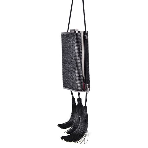 Black Austrian Crystals Embellished Velvet Clutch Bag in Black Tone with Tassels (Size 17X9.5X5 Cm)