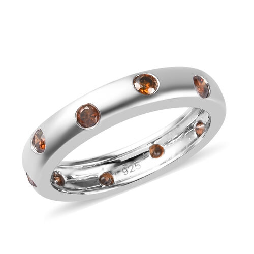 0.50 Ct Red Diamond Flush Set Band Ring in Platinum Plated Sterling Silver