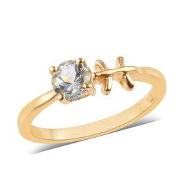AA Espirito Santo Aquamarine Zodiac-Pisces Ring in 14K Gold Overlay Sterling Silver 0.43 Ct.